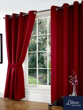 """90"""" x 108"""" Red Faux Silk Pair Curtains Eyelet, Ring Top, Lined Inc Tiebacks"""