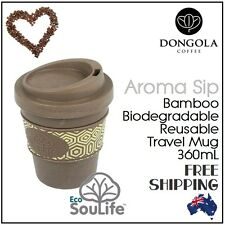 EcoSouLife Aroma SIP Reuseable Coffee Tea Travel Cup Lid Eco Friendly Bamboo 360ml Brown
