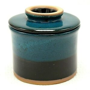 Stoneware Pottery French Butter Keeper Crock Cup Bell Teal Black Glaze Decor NEW