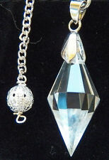 RARE 12 SIDED TIBETAN HERKIMER DIAMOND AND SILVER DOWSING PENDULUM WITH POUCH