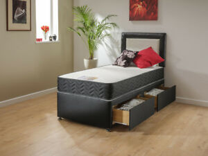 Extra Long Memory Foam Bed 2 Draws and Headboard 7ft Long in 3ft, 4ft, 4ft6, 5ft