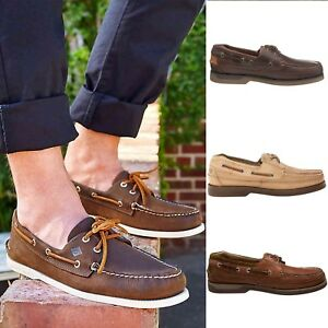 Sperry Top Sider Men's Mako 2-Eye Leather Slip-On Boat Shoes Authentic Original