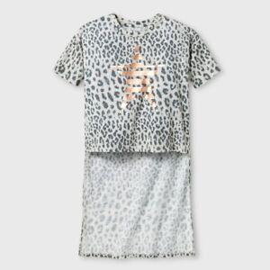 Art Class Girls' Black & White Leopard Print Star Hi Lo Tee Shirt, Size M 7/8