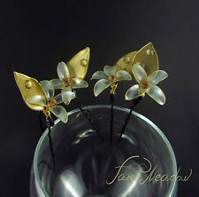 Golden Forget Me Nots Set of 4 White Handmade Resin Flowers Hair Pin Kanzashi