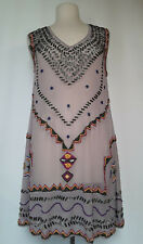 YAYA AFLALO Gray Silk Yellow Hot Pink Silver Beaded Sleeveless Dress Medium $565