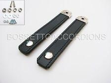 Accordion Bellow Straps Strap Black w/Hardware Genuine Leather High Quality