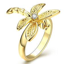 Gold dragonfly large women wedding bridal ring diameter 18 mm size Q FR209