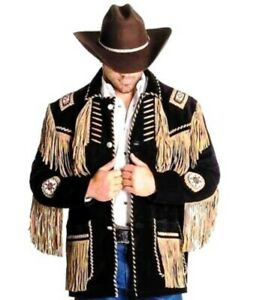 Men's Black Western Style Cowboy Suede Leather Jacket With Fringes and Beads