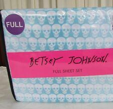 Betsey Johnson Full Sheet Set Ombre Skull Blue,White 4 PC NWT