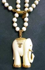 Lovely Vintage Miriam Haskell Faux Pearl Necklace Asian Styled Elephant Pendant