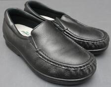 Women SAS Twin Tripad Comfort Black Pebbled Leather Slip On Loafer Shoe 8WW
