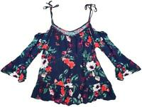 Womens Floral 3/4 Sleeve Cold Shoulder Strappy Summer Top UK Plus Sizes 8 to 18