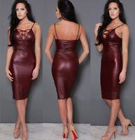 Abito aperto ecopelle Aderente Lacci Stringhe Ballo faux leather Bodycon dress M