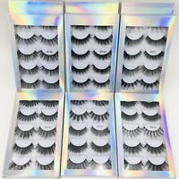 5 Pairs Natural Fashion Handmade Real Mink 3D False Eyelashes Thick Long Lashes