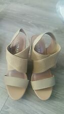 f2fa9919a207 Charles by Charles David Sand Elastic Woven Platform Wedge Sandals Size9.5