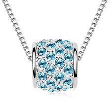 18K WHITE GOLD GP SWAROVSKI Elements Clear Blue CRYSTAL NECKLACE SF04-8661