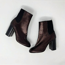 Rag & Bone Women's Metallic Leather Agnes Boot Block Heel Sz39 $525 Barely Worn