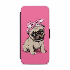 PUG CUTE DOG PET ANIMAL WALLET FLIP PHONE CASE COVER FOR IPHONE SAMSUNG     S137