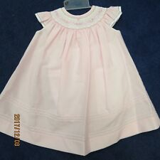 Will'beth girls Bishop dress size 3 mo. in pink w/smocking, panty also New w/tag