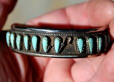 Old Pawn Zuni Sterling Silver & Turquoise Stones Bracelet Missing One Stone