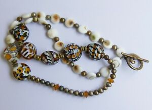 925 Silver Clasp Murano Glass Bead Necklace Brown Gold White Copper Tone 100-66