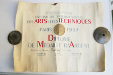 International Exhibition of Arts and Techniques - Paris 1937 Silver Medal Diplom