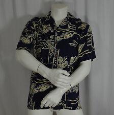 Hilo Hattie Hawaiian Aloha Shirt Size Large L Men's Navy Hibiscus Coconut Button