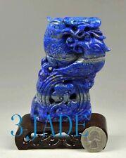 Natural Lapis Lazuli Bird Statue Gemstone Carving Sculpture Chinese Art Decor