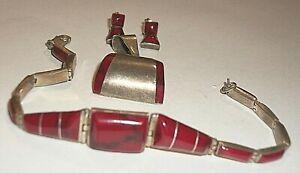STERLING BRACELET PENDANT EARRINGS RED STONES     19.3 GM      10