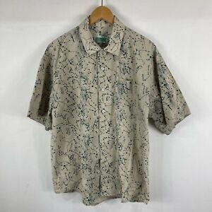 VINTAGE Box Canyon Mens Button Up Shirt Medium Beige Constellation Stars
