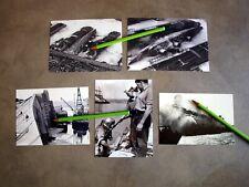 CES 5 PHOTOS PAQUEBOT NORMANDIE INCENDIE DANS  PORT DE NEW YORK (reproductions).
