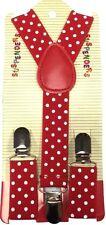 NEW Boys Girls Baby Kids Child Children Red Polka Dot Clip on Elastic Suspenders