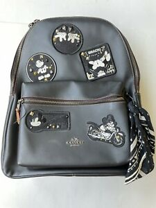 NEW Disney X Coach MICKEY MOUSE Patch Black Leather CHARLIE BACKPACK F59375