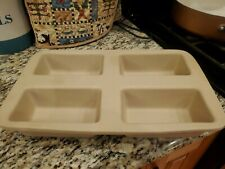 New listing Pampered Chef Family Heritage Stoneware Mini 4 Loaf Pan Baking Bread