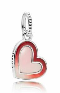 Authentic Pandora Asymmetric Heart Of Love Enamel Dangle Charm 797820 With Pouch