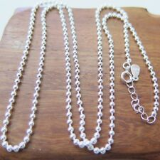 """New Fine Pure S925 Silver Necklace Lucky Smooth Beads Link Chain 1.5mmW 17.7""""L"""