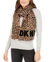 DKNY Logo Velvet Flocked Flat Leopard Print Knit Scarf $48