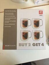 Zwilling J.A. Henckels Double Wall Coffee Glass Mugs NIB