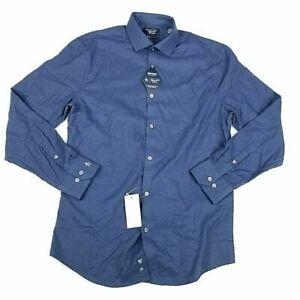 Original Penguin Dress Shirt Blue Heritage Slim Fit Stretch Comfort 15.5 34/35