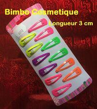 12 Pinces Epingle Barrette à Cheveux Clip Fluo Multicolore Coiffure Enfant Fille