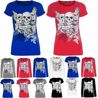 Womens Plus Size Tshirt Ladies Glitter Skull Heads Forever Young Jersey Tee Top