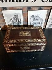 More details for fine antique c1820 regency georgian rosewood brass inlaid writing slope box