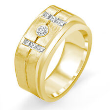 Ring Band 14k Gold Yellow 9.80 mm 0.60 Ct Round Princess F Diamond Men's Wedding