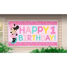 MINNIE MOUSE FUN TO BE ONE 1ST BIRTHDAY PARTY SUPPLIES BANNER SIGN DECORATION