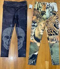 Leggings Lot Skull 7/8 length Tiger full length Womens MEDIUM