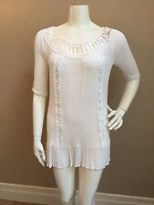 Available By Angela White Gauzy 100% Rayon Crochet Lace Trimmed Tunic Dress XS
