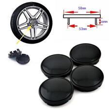 4 PCS 53mm Car Hub Caps Set Anti-theft Decor Wheel Hub Center Cover Black ABS
