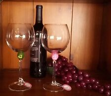 Hand-painted Golf theme wine glasses-Pinky (Boxed)