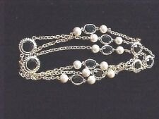 Vintage Necklace-Swarovski-Element-Blk Crystal Lentil-Bead-Gold Plate Chain F