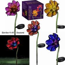 POPPY Solar Light Garden Stakes Fuschia Orange Purple Red Regal Art & Gift Boxed